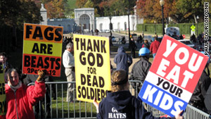 Westboro Baptist Church has gained media attention for protesting at the funerals of military service members.