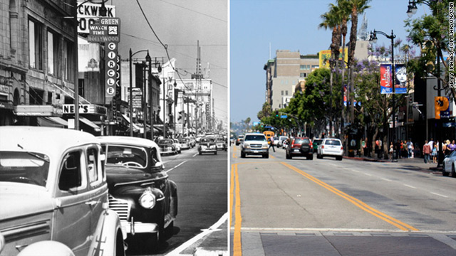 "Los Angeles' Hollywood Boulevard, shown circa 1950 and in 2011. Check out <a href=""http://www.cnn.com/interactive/2011/06/us/slider.southern.california/"">CNN's California then-and-now gallery</a>."
