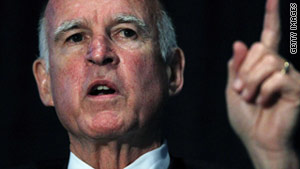 "California Democratic Gov. Jerry Brown said the new budget plan contains ""tough decisions."""