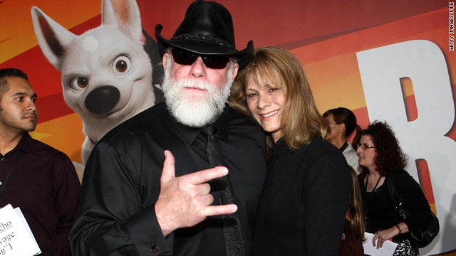 """Macho Man"" Randy Savage and his wife, Barbara, attend the premiere of the animated film ""Bolt"" in 2008."