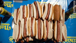 During its most recent fiscal year, Nathan's sold about 453 million hot dogs.