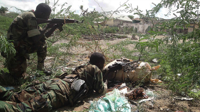African Union soldiers during a firefight with Al-shabaab, an Islamist insurgent group, in Mogadishu, Somalia, on May 22.