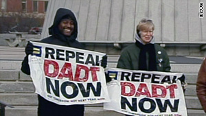 """People rally to support the repeal of """"don't ask, don't tell"""" policy in Boston in December."""