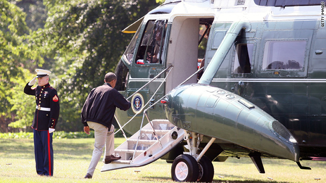 President Barack Obama heads to Camp David, Maryland, on Marine One on Saturday.