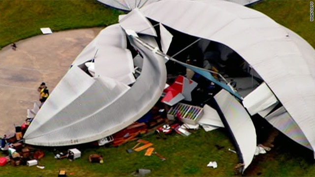 A strong storm knocked down a festival tent in the Chicago suburb of Palos Hills, Illinois, on Monday.