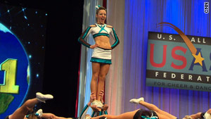 Mikayla Raleigh cheers during the world championships in May in Orlando.