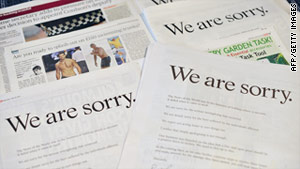 News Corp CEO Rupert Murdoch released apology ads in British newspapers on Sunday.