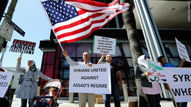 Protesters in n Los Angeles demonstrate against the Syrian regime on June 3.