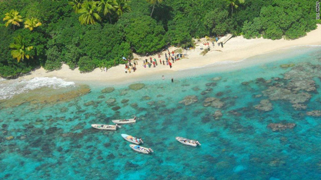 Fifteen people, missing since Tuesday, were spotted on a small island in the Pacific Ocean.