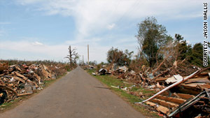 About six miles from Glendale Gardens, this street in Holt, Alabama, was leveled by the same tornado.