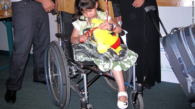 Malaak Al-Shami, who arrived in the U.S. on Thursday, was injured when a rocket hit her bedroom wall in Misrata, Libya.