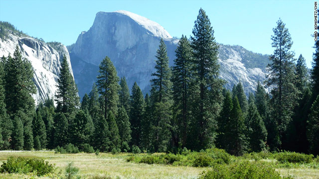 The granite Half Dome rises 4,800 feet above eastern California's Yosemite Valley, and about 8,800 feet above sea level.
