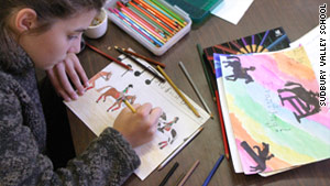 A student draws in the art room at Sudbury Valley School.