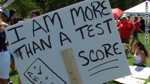 One of the goals of the march was to protest the use of standardized tests.