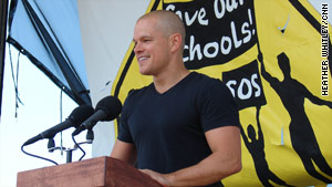 Actor Matt Damon, whose mother is a teacher, speaks to the crowd during the Save Our Schools march.