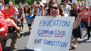 About 5,000 educators, parents and students gathered at the Save Our Schools march.