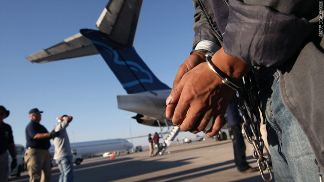 An undocumented Guatemalan immigrant prepares to board a flight in Mesa, Arizona.