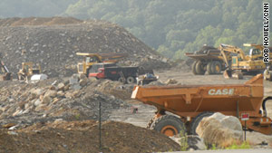 Some mountaintop mining permits are frozen, but this project in Logan, West Virginia, continues.
