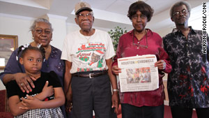 Eight-year-old Ayana Chambliss, left, Delphina and James Lindsey, Shirley Chambliss and Edgar Ned, right, have stayed in Houston.