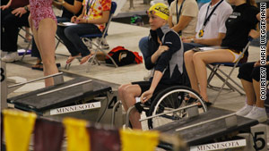 She was done with competitive swimming after high school, but the pool called her back after she became a paraplegic.