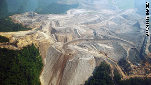 In mountaintop removal mining, large sections of ridges are blasted and coal is mined.