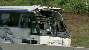 The Greyhound bus was traveling from Philadelphia to Columbus, Ohio, a company spokeswoman said.