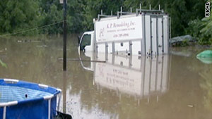 Several roads were under water Monday morning, stranding motorists in Baltimore, Maryland.