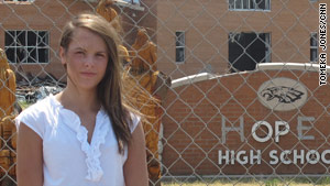 Lydia McAllister's home and high school were destroyed by a tornado that passed through Joplin, Missouri, in May.