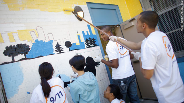 Volunteers participate in the 9/11 Day of Service and Remembrance in lower Manhattan last year.