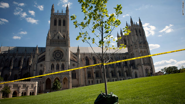 The National Cathedral is taped off after suffering damage Tuesday.