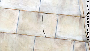 A crack is seen on the west side of the Washington Monument's pyramidion.