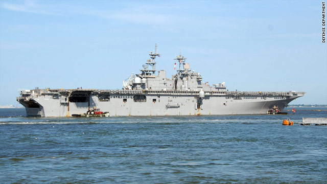 The USS Wasp, an amphibious assault ship, will be safer from the hurricane at sea than in shore, the ship's navigator says.
