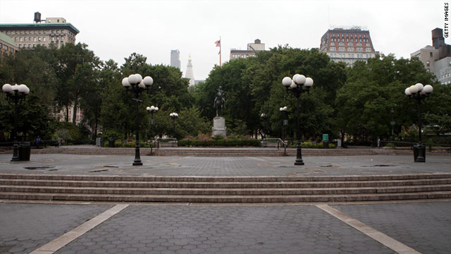 New York's Union Square sits empty on Saturday ahead of Hurricane Irene's anticipated landfall.