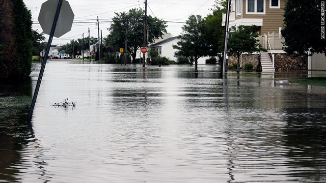Flooded intersections in Point Pleasant Beach, New Jersey, closed roads and caused power outages on Sunday.