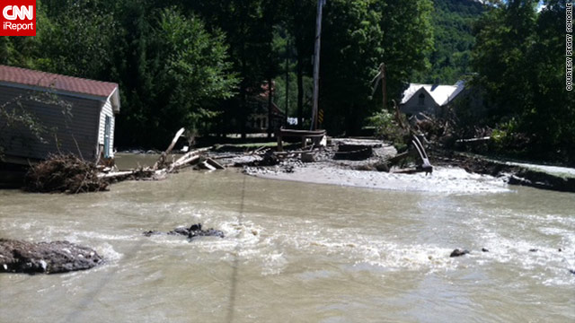 Peggy Schorle took this photo of flooding at Tweed River and Route 100 in Pittsfield, Vermont, Sunday afternoon.