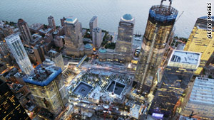 The voids can be seen in the middle of the construction site. 1 World Trade Center is at right.