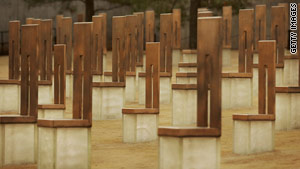 The Oklahoma City Memorial features a group of chairs, large and small, representing those killed in the 1995 attack.