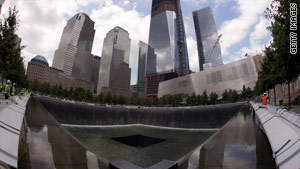 """Reflecting Absence,"" Manhattan's 9/11 memorial, features two ""voids"" in the footprints of the old Twin Towers."