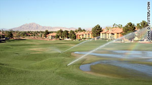 Fountains on the strip aren't the big problem, the local water authority says. Grass is.