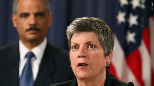 "Janet Napolitano, shown August 3, said Friday that ""measures are in place to detect and prevent plots against the United States."""
