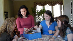 Megan Schuster, left,  interviewed Corinne, Casey and Amy Hargrave at their New Jersey home in March.