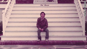 "The address, ""Nine Eleven."" is spelled in wrought iron behind T.J. Hargrave in a photo taken in the 1980s."