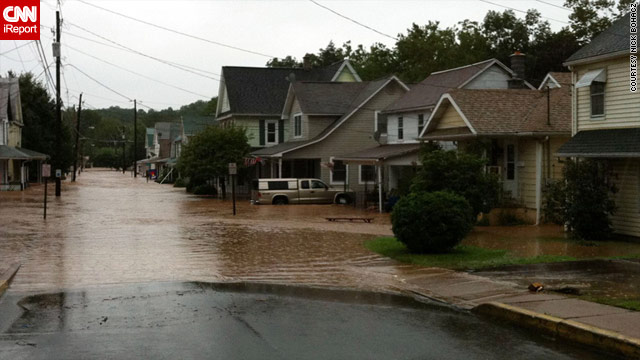 CNN iReporter Nick Bohacz of Bloomsburg, Pennsylvania, said flooded roads prevented him from getting to work.