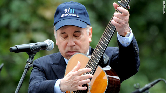 "Paul Simon performs ""The Sound of Silence"" on Sunday at Manhattan's ground zero."