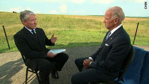 Vice President Joe Biden, right, speaks to CNN's John King in an interview set to air Monday night.