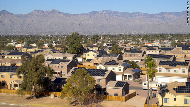 SolarCity says it will install panels on military homes, similar to this project at Davis-Monthan Air Force Base in Arizona.
