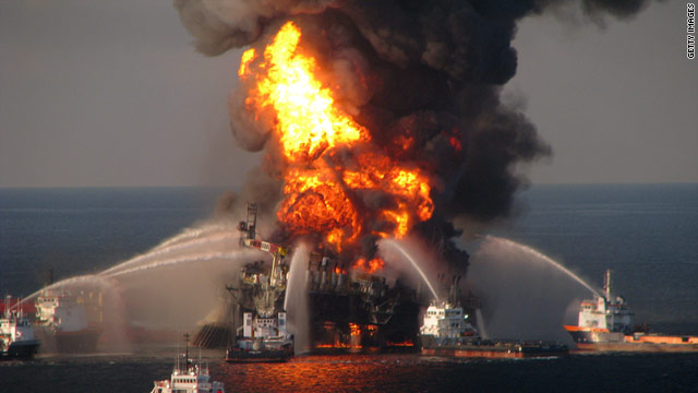 The Deepwater Horizon oil rig exploded in the Gulf of Mexico in April 2010.