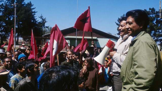 United Farm Workers of America founder Cesar Chavez, far right, attends a rally in California in 1977.