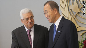U.N. Secretary-General Ban Ki-moon, right, greets Palestinian Authority President Mahmoud Abbas at U.N. headquarters.