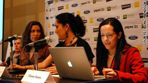 """Conversations we have online become initiatives,"" said Elianne Ramos, right, pictured at New York BlogWorld 2011."